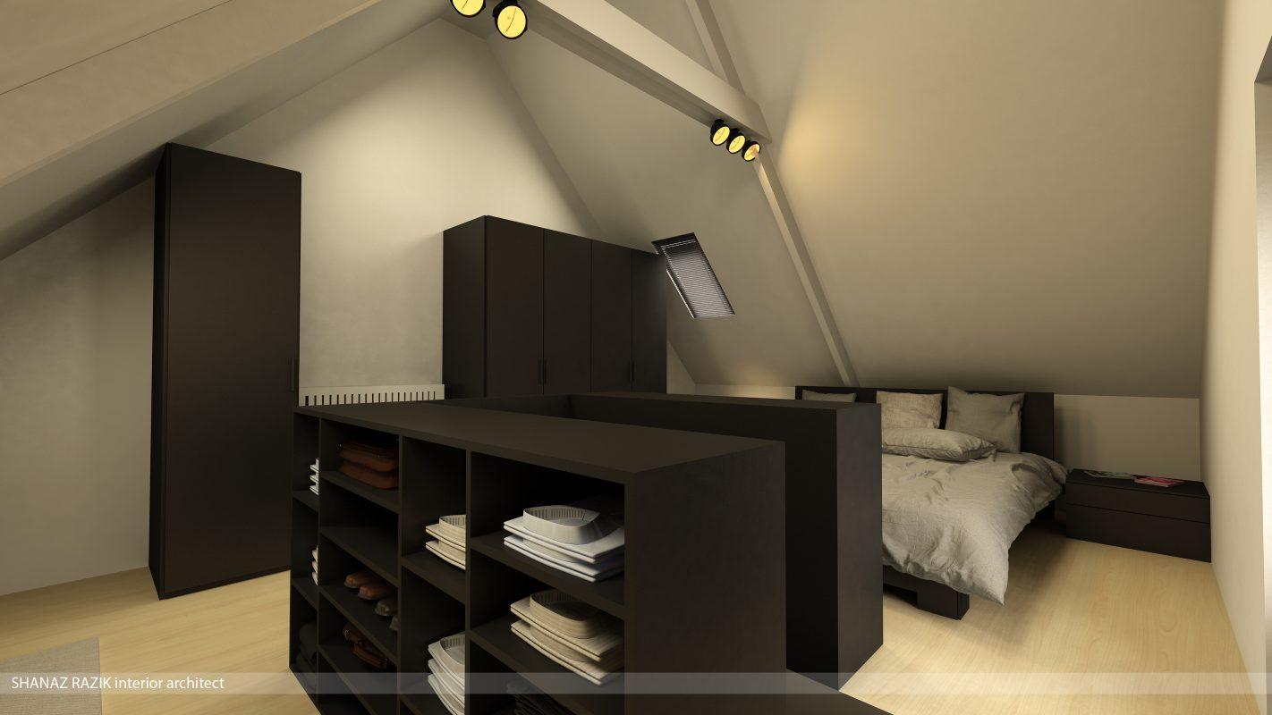 Modern en stark interieur in rijwoning schellebelle - Slaapkamer op de zolder ...